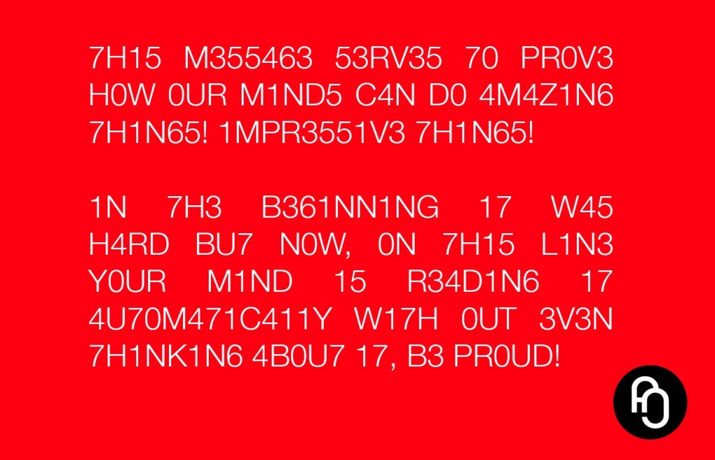 Your mind is amazing!